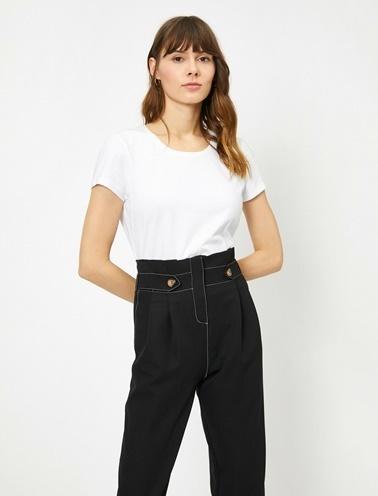 Koton Standart Kalip Bisiklet Yaka Basic T-Shirt Beyaz